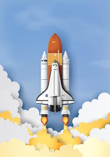 Бизнес-концепция космический челнок запуск в небо Premium векторы