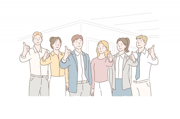 Business concept successful teamwork, partners. clerks with leaders showing thumbs up looking at camera. Premium Vector