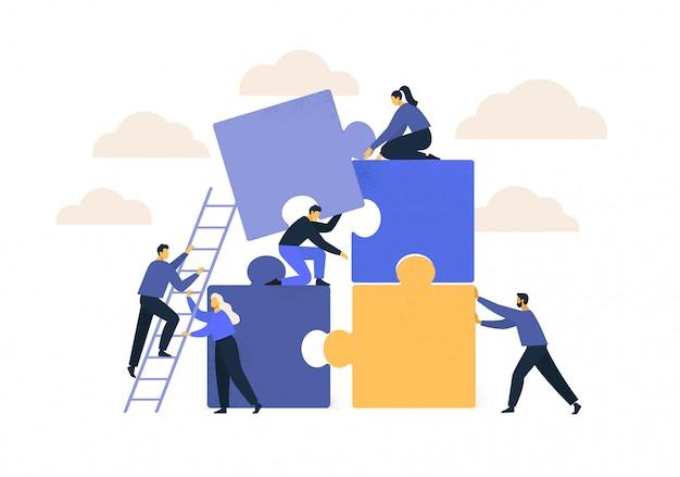 ビジネスコンセプトです。チームのメタファー。パズル要素を接続する人々。 Premiumベクター