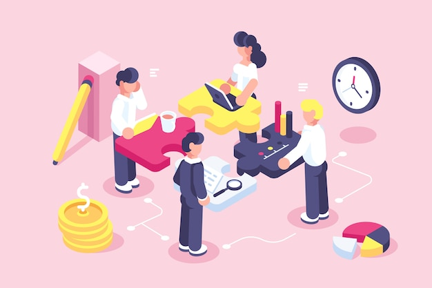 Business concept for web page. team metaphor. people connecting puzzle elements. vector illustration flat design style. symbol of teamwork, cooperation, partnership. startup employees. goal thinking Premium Vector