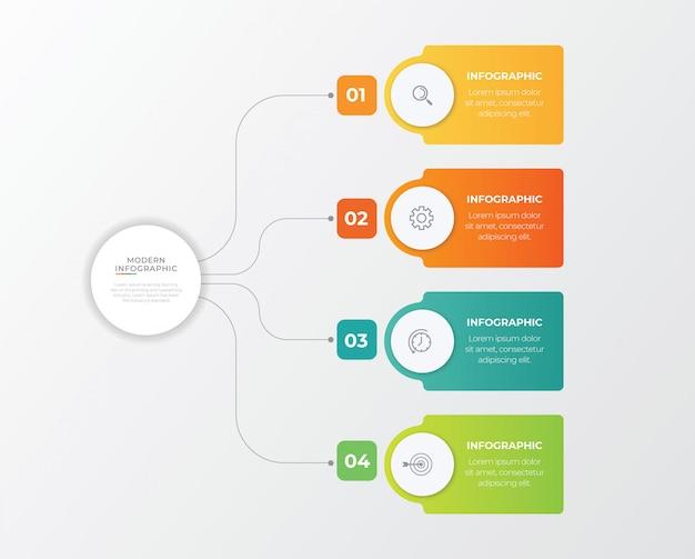 4 옵션, 단계 또는 프로세스와 비즈니스 개념. 프리미엄 벡터