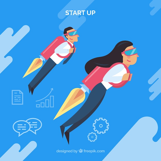 Business concept with business people using\ jetpack
