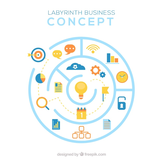 Business concept with circular labyrinth Free Vector