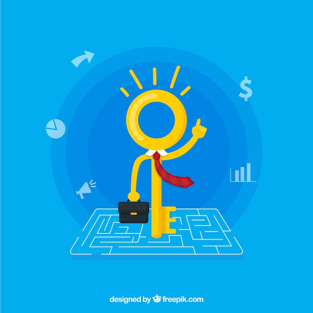 Business concept with flat key Free Vector
