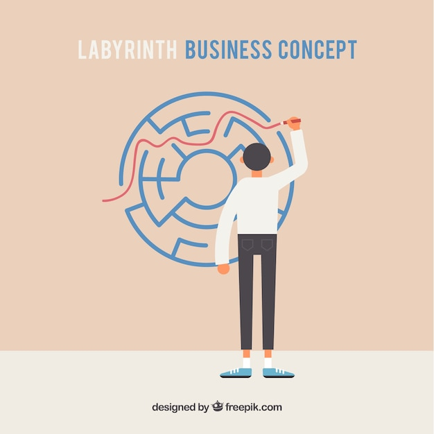 Business concept with flat labyrinth Free Vector