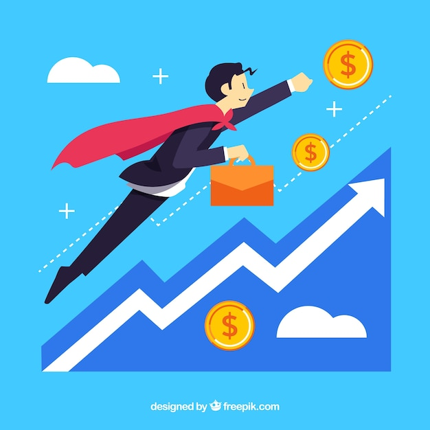 Business concept with flying man Free Vector