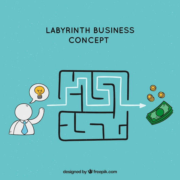Business concept with hand drawn labyrinth Free Vector