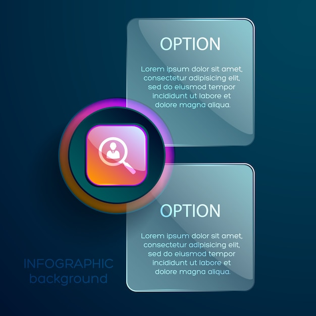 Business concept with infographic zoom lens social pictogram and two editable text boxes Free Vector