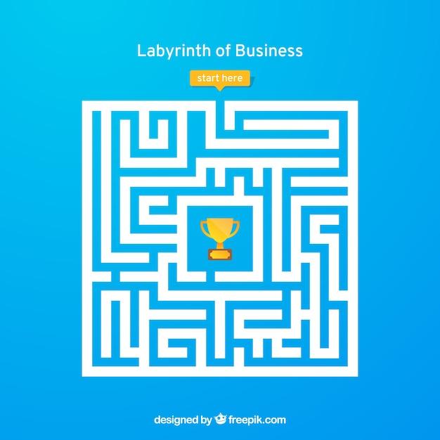Бизнес-концепция с лабиринтом и работником Бесплатные векторы