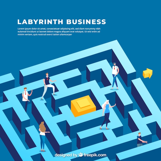 Business concept with labyrinth's isometric view Free Vector