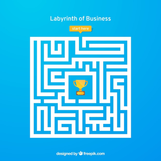Business concept with labyrinth and worker Free Vector