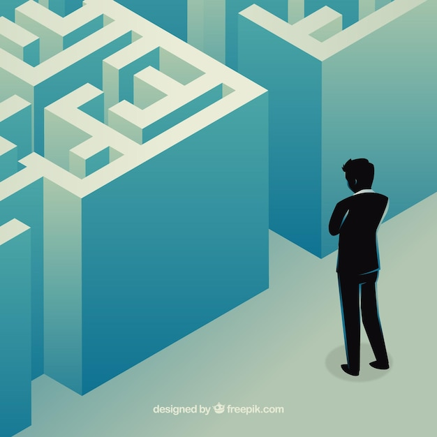 Business concept with labyrinth Free Vector