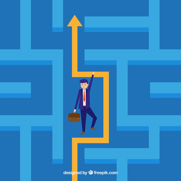 Business concept with maze Free Vector