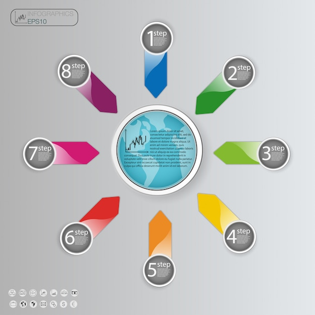 Business concept with  options, parts, steps or processes. info graphic  template. Premium Vector