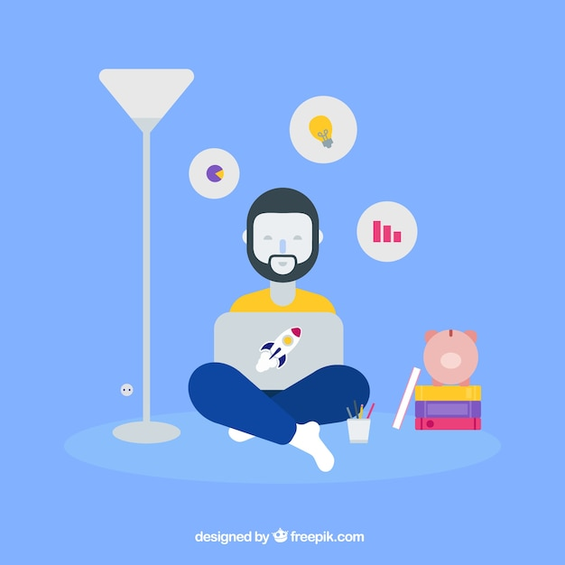 Business concept with relaxed man