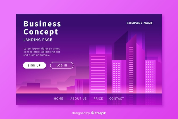Business conceptlanding page template Free Vector