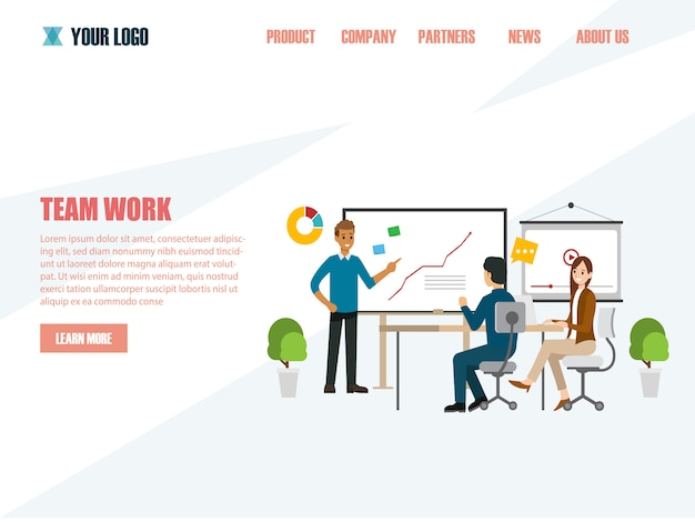 Business concepts for analysis and planning, teamwork consulting Premium Vector