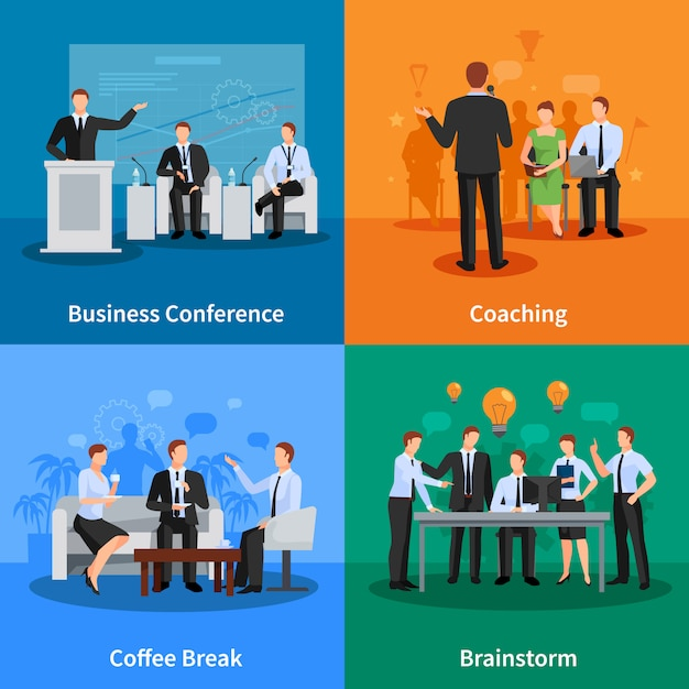 Business conference concept. business meeting Free Vector