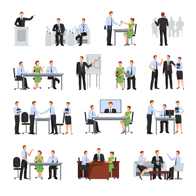 Business conference  elements collection Free Vector