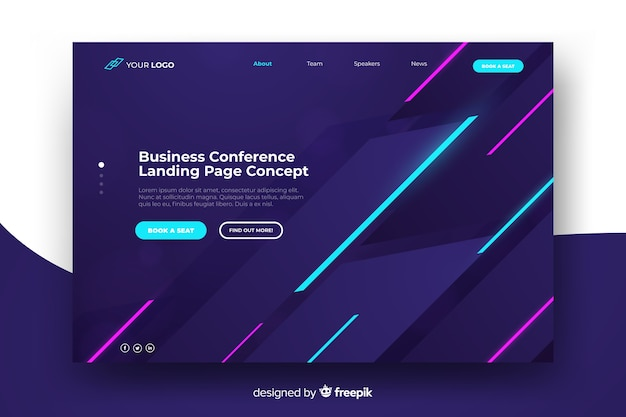 Business conference landing page Free Vector