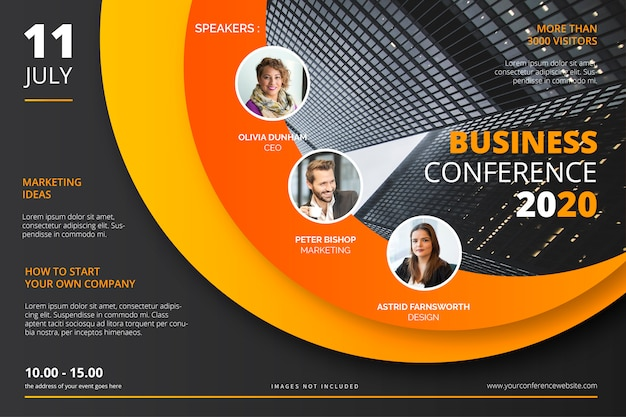 Business conference poster template Free Vector