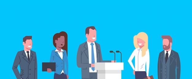 Business conference public debate interview concept businesspeople meeting Premium Vector