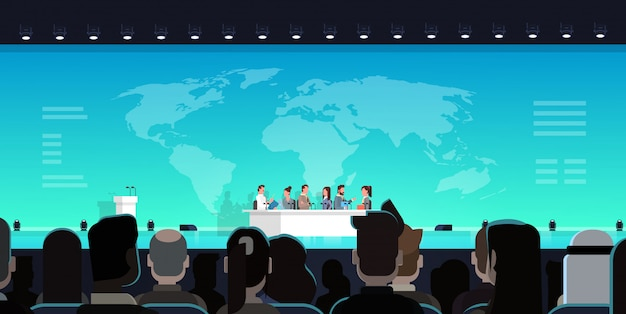 Business conference public debate interview concept official international meeting in front of big a Premium Vector