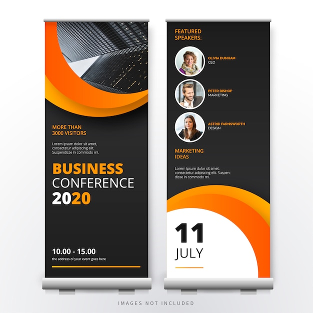 Business conference roll up template Free Vector