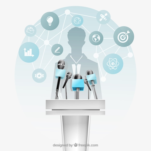 Business conference stage Free Vector