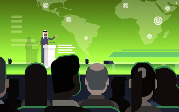 Business conference with arab businessman or politician talking from tribune over world map arabian speaker on international meeting Premium Vector