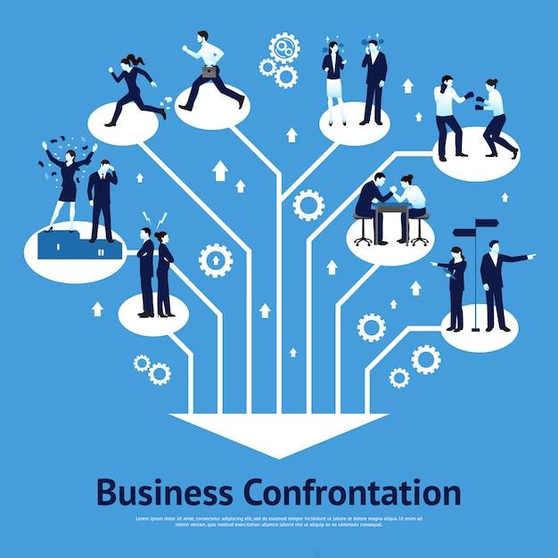 ビジネス対決フラットグラフィックデザイン 無料ベクター