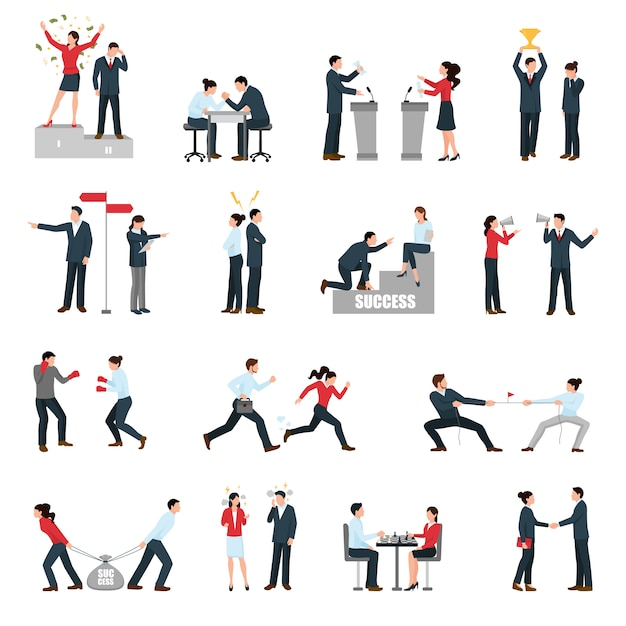 Business confrontation people flat icons set Free Vector