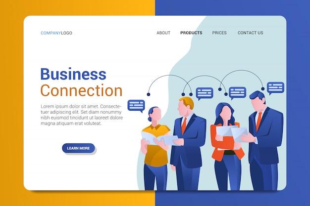 Business connection landing page template Premium Vector
