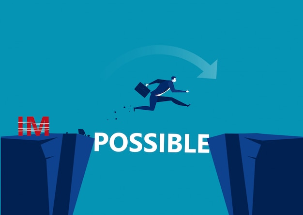 Business conquering obstacles challenge possible . businessman taking risk jumping over gap, Premium Vector