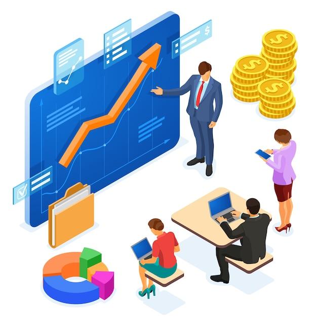Бизнес-консультант консультирует команду. концепция инвестирования, анализ данных, планирование, учет. Premium векторы
