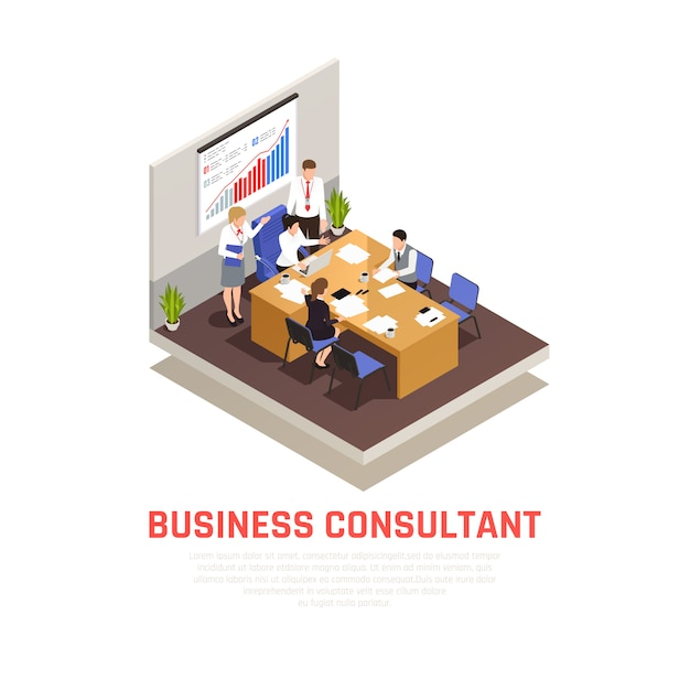 Business consultant isometric concept with lecture and presentation symbols Free Vector
