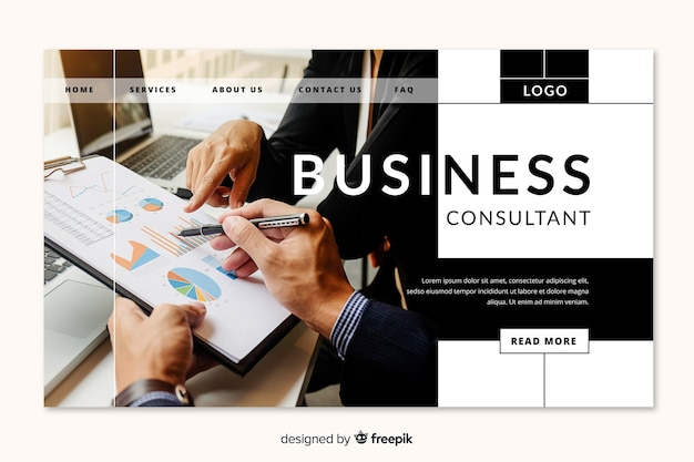 Business consultant landing page Free Vector
