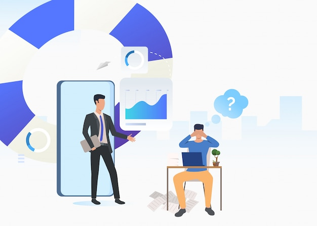 Business consultant and puzzled man working on laptop Free Vector