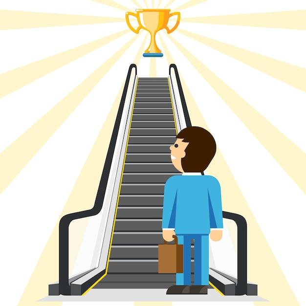 비즈니스 컨설팅. 성공을위한 편안한 방법. 목표와 컵, 성취와 계단, 단계적 편안함, 사업가 리프트, 무료 벡터