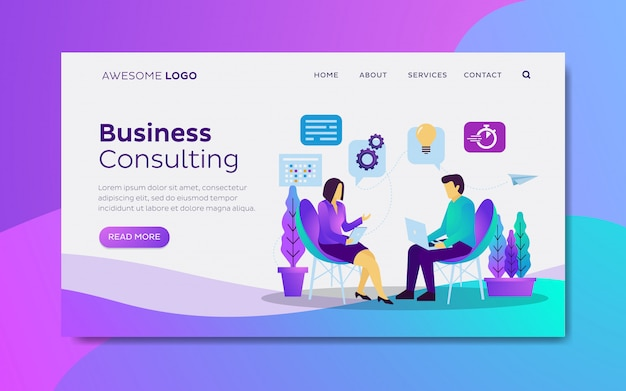 Business consulting landing page template Premium Vector