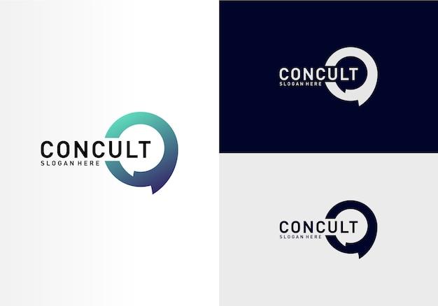 Business consulting logo concept. app chat talk bubble logo Premium Vector