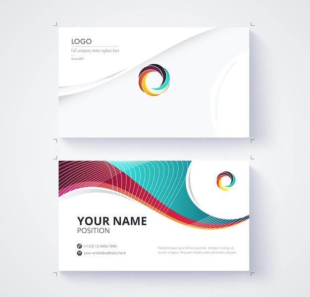 Business contact card Premium Vector