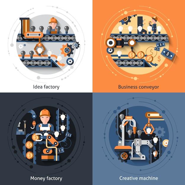 Business conveyor set Free Vector