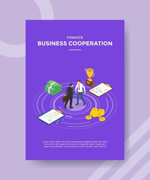 テンプレートバナーとアイソメトリックスタイルのイラストで印刷するためのチラシのビジネス協力の概念 無料ベクター