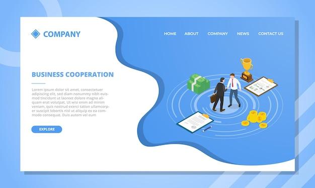 아이소 메트릭 스타일 일러스트와 함께 웹 사이트 템플릿 또는 방문 홈페이지 디자인을위한 비즈니스 협력 개념 무료 벡터
