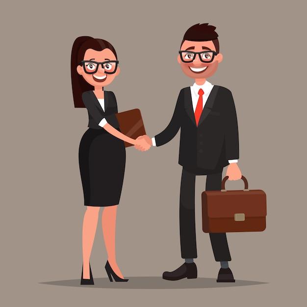 Деловое сотрудничество. рукопожатие двух деловых партнеров. иллюстрация Premium векторы