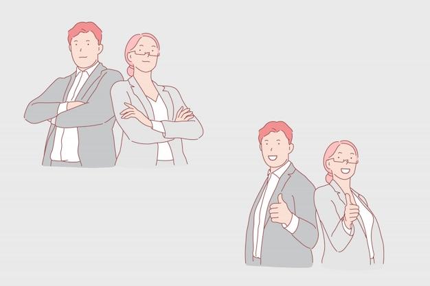 Business cooperation, partnership, harmonious work illustration Premium Vector