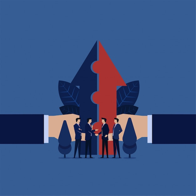 Business cooperation put one arrow together for one vision. Premium Vector