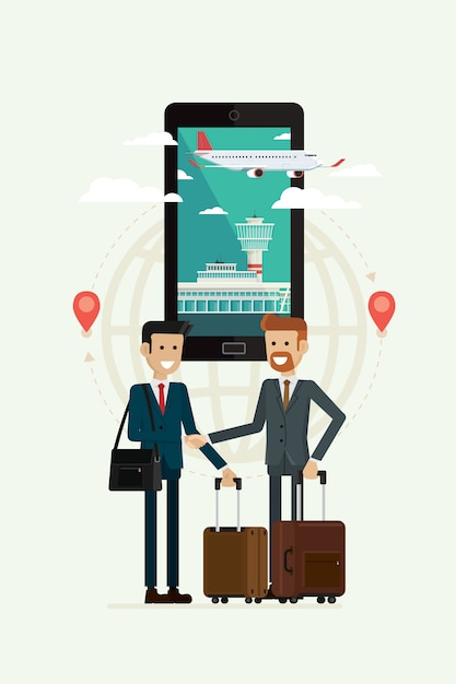 Business cooperation travel and plane path to goal on mobile, vector illustration Premium Vector