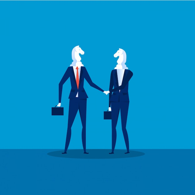 Business cooperation vector. two businessmen chess horses black shaking hand for join business to successful . illustration Premium Vector
